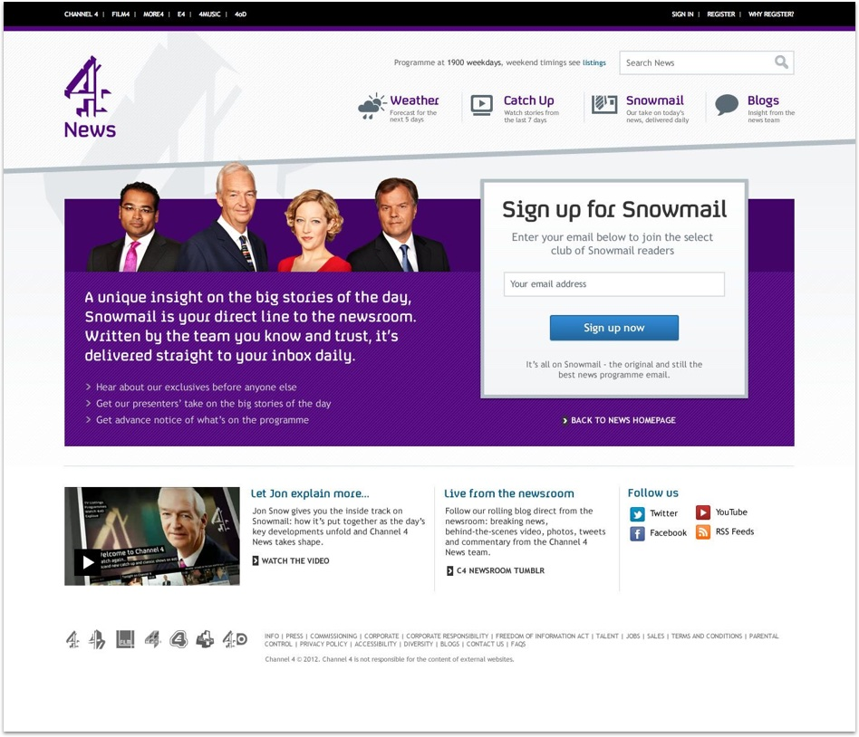 Channel 4 bottom of home page